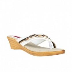 Trewfin White Heeled Slip Ons