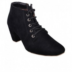Leather Wood Black Ankle Length Boots