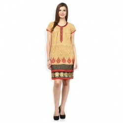 Gili Yellow Round Neck Dresses