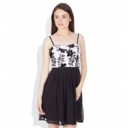 Vero Moda White & Black Sequinned Skater Dress