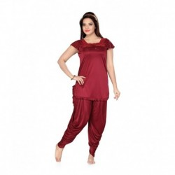 ISHIN Prints Red Satin Nightsuit Sets Pack of 2