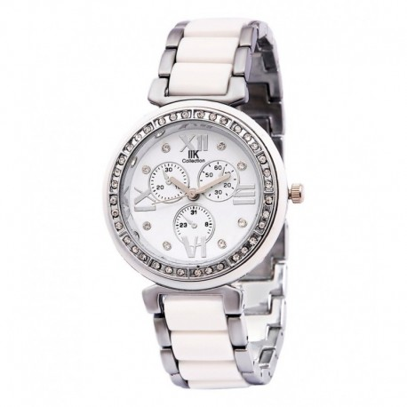 Iik Collection Round Dial and White Chain Quartz Watch