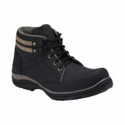 Bachini Black Faux Leather Ankle Boots