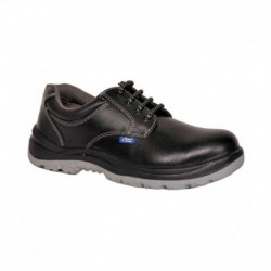 Allen Cooper Black Leather Safety Shoes