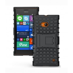 Cubix Defender Series Dual Layer Hybrid Tpu + Pc Kickstand Case Cover For Nokia Lumia 730 Dual Sim (black)