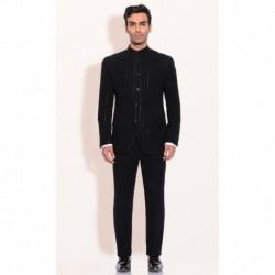 Ashish N Soni Black Polyester Mens Bandgala Jacket With Pants