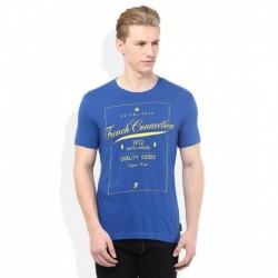 FCUK Blue Printed Round Neck T Shirt