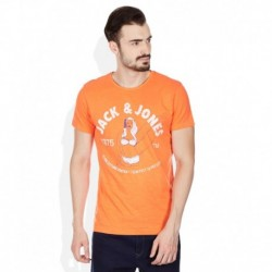 Jack & Jones Orange Round Neck T Shirt