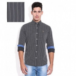 Mufti Black Vertical Striped Shirt