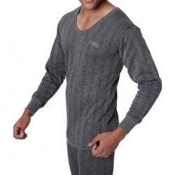 Lux Inferno Grey Melange Cotton Full Sleeve Thermal Vest