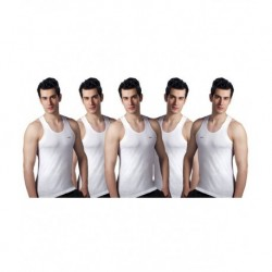 Lux White Pack Of 5 Cotton Vests