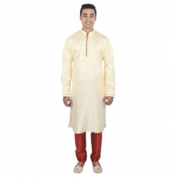 Anjaneya Beige Festive Silk Medium Sherwani