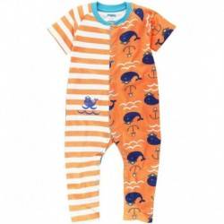 Snuggles Orange & White Printed Cotton Sleepsuit