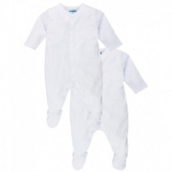 Snuggles White Cotton Sleepsuits (Pack of 2)
