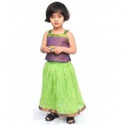 Kilkari Green Ghagra & Blouse For Kids
