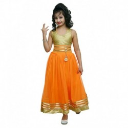 Ishika Garments Orange Gown For Girls