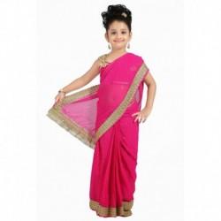 Bhartiya Paridhan Pink Viscose Ready To Wear Pink Saree For Girls