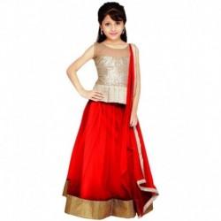 Najara Fashion Red Net Semi Stitched Lehenga