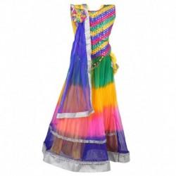 Crazeis Multicolor Cotton Sleeveless Lehenga Choli Set
