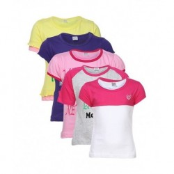 Goodway Pack of 5 Multi Colors Mom & Dad Printed T-Shirts For Kids