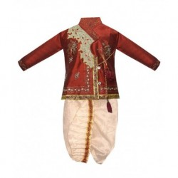 Vastramay Maroon And White Dhoti Kurta For Boys
