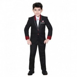Kute Kids Black Cotton Blend Suit
