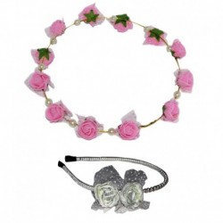 Goodluck Collection Pink Tiara With White Small Floral Hairband