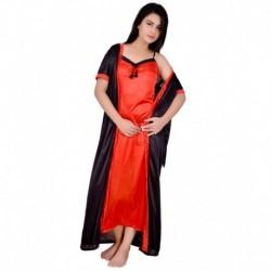 KANIKA Black Satin Nighty & Night Gowns Pack of 2