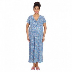 Kriti Comfort Blue and Orange Cotton Hospital Gown