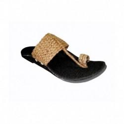 Panahi Mens Jute Fabric Kohlapuri Brown Sandal