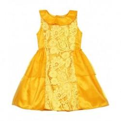 Lilposh Yellow Satin Sleevless Sleeves Knee Length Girls Dress