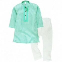 Lilposh Green and White Cotton Kurta Pyjama Set
