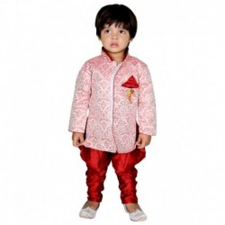 ny Toon Red Synthetic Sherwani
