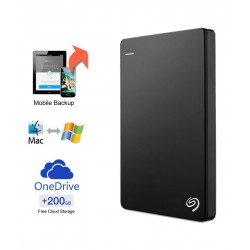 Seagate Backup Plus Slim 2TB Portable External Hard Drive with 200GB of Cloud Storage & Mobile Device Backup (Black)